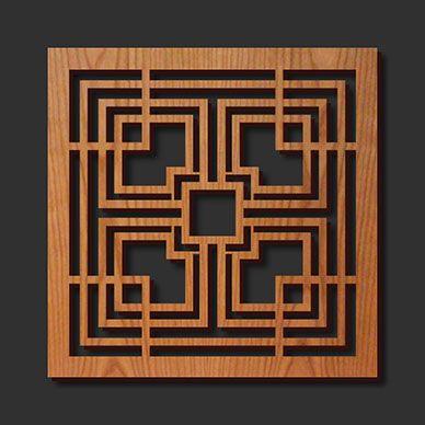 Decorative Frank Lloyd Wright Designed Laser Cut Wood Trivet