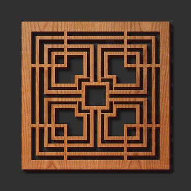 Decorative Frank Lloyd Wright Designed Laser Cut Wood Trivet