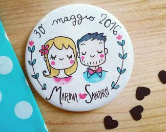 Romantic couple magnet with cartoon portrait, perfect for a funny favor. Made by Violinoviola <3