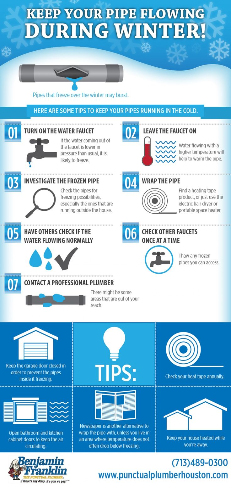 Keep Your Pipe Flowing During Winter! -Winter is here and that means your pipes are at risk of being frozen. Frozen pipes are at a high chance of bursting if not tended to immediately. At Benjamin Franklin Plumbing of The Woodlands, we have created a frozen pipe infographic to show you tips on how you can prevent frozen pipes this winter. A pip... -shared by projectassistant | published Feb 21, 2014