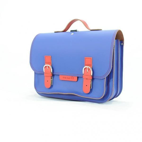 Own Stuff Lederen schooltas / boekentas cobalt blauw met rood  | Own Stuff