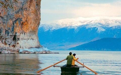 Megali Prespa lake in Florina, Macedonia,Greece