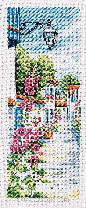 broderie au point de croix La ruelle fleurie sur toile aida en kit broderie de Marie Coeur 4317
