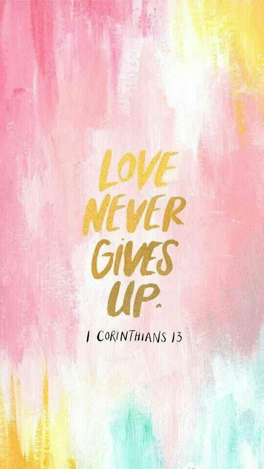 Love should never gives up. <3