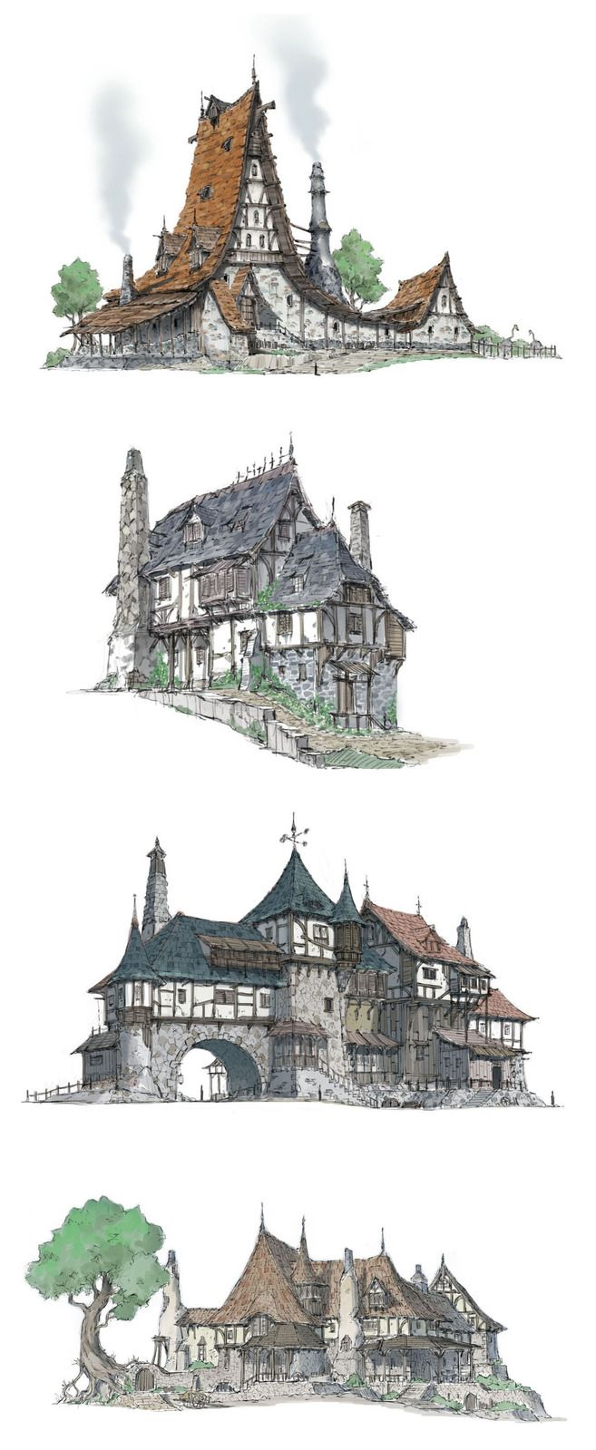 Gorgeous illustrations of some middle age homes.