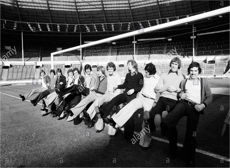 The #NCFC team practice a mass goal line clearance routine (or the can can) at Wembley before the '75 LC final clash with Villa