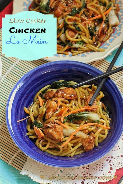 Slow cooker / Crockpot Chicken Lo Mein Noodles - the best and easiest lo mein noodles ever with authentic ingredients and takes ONLY 15 minutes to prep. No need to order take-out, this is so much quicker, tastier & healthier!