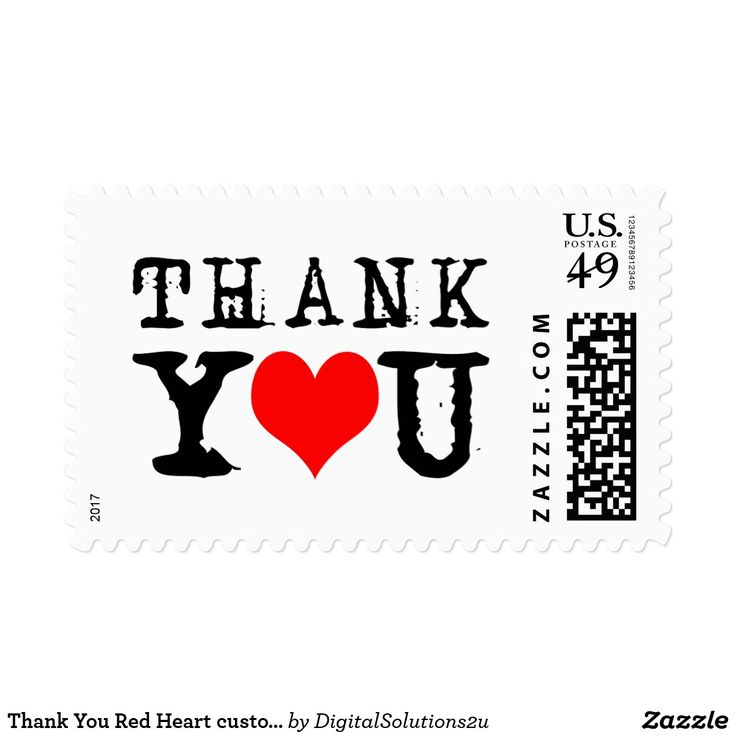 Thank You Red Heart customizable Postage