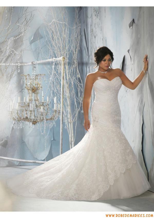 Robe de mariée grande taille sirène dentelle cristal