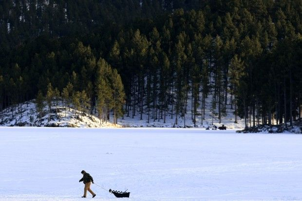 Ice fishing at sheridan lake the beautiful black hills for Ice fishing south dakota