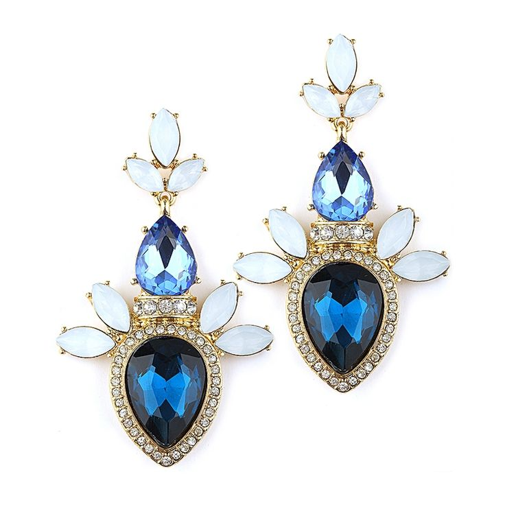 Blue Cer Statement Earrings For Prom Or Bridesmaids Retty And Modern Wedding