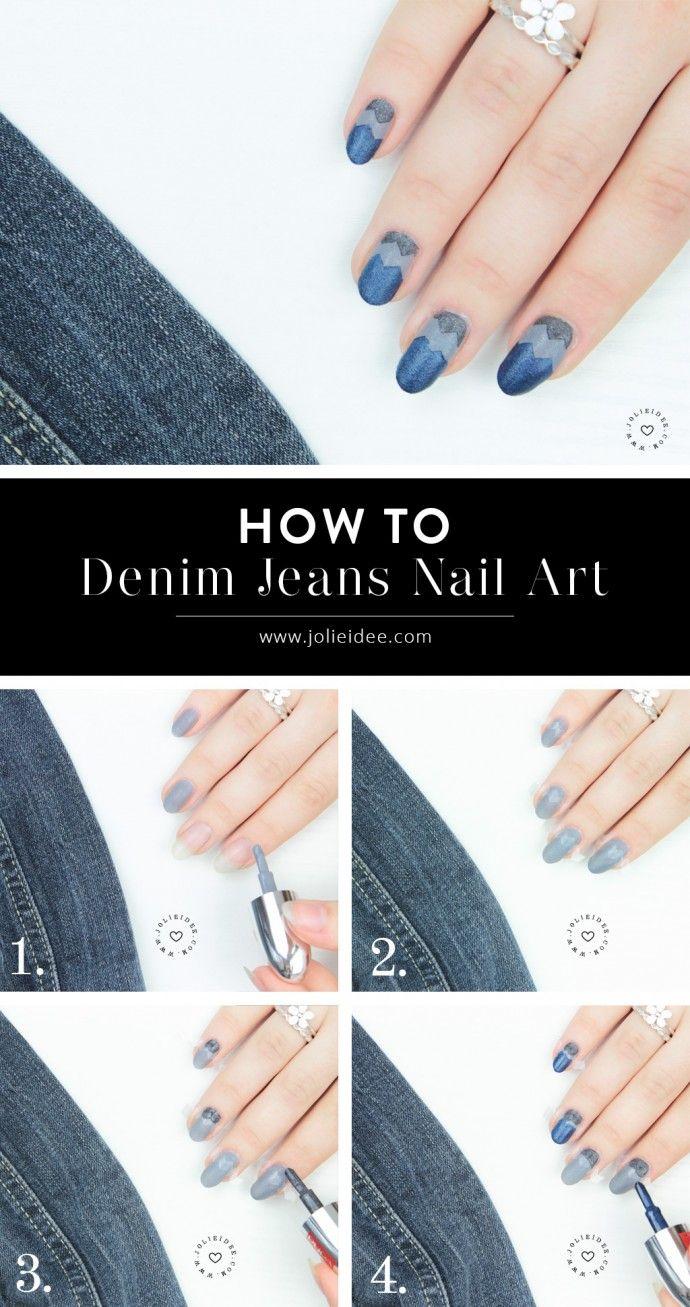 Denim Jeans Nail Art - Tutorial e Photos