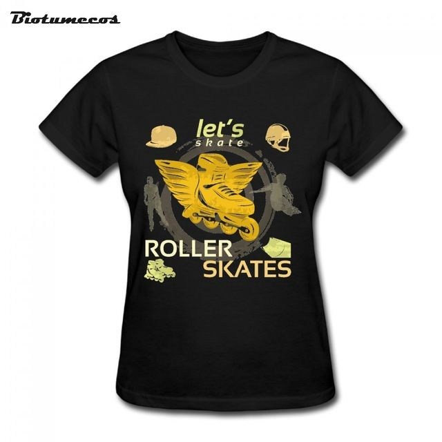 $11.58 Let's Roller Skates Ice Skates Women Fashion Short Sleeve 100% Cotton Printed T-shirt Brand Clothing Funny Top Tees WTY131