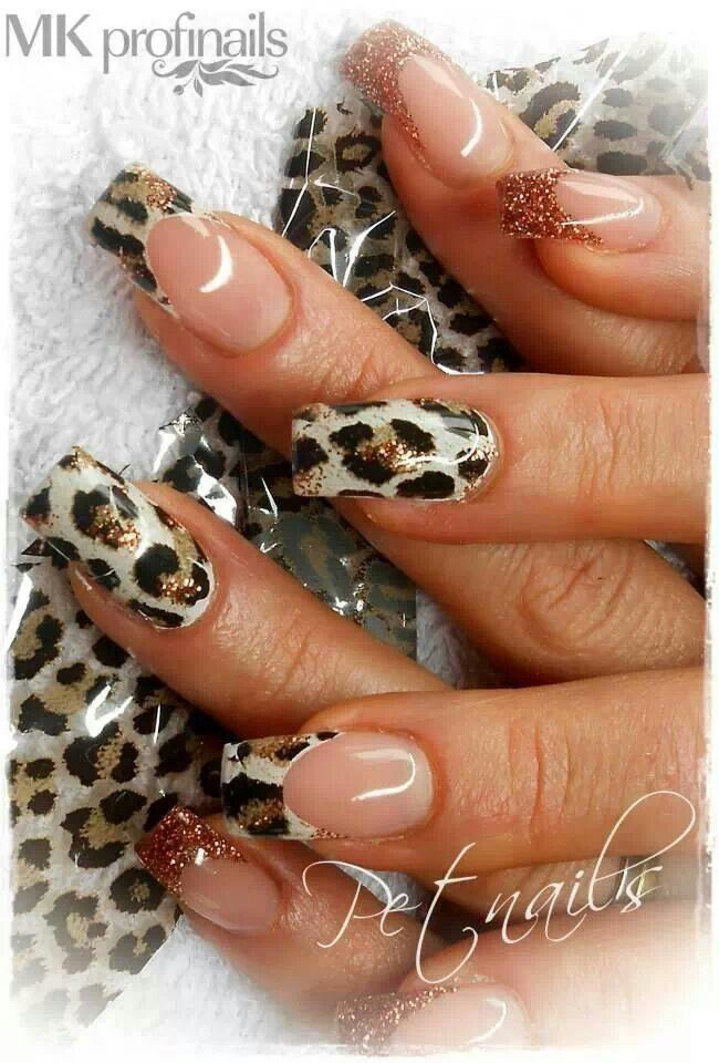 animal print french nail design, unas decoradas estilo frances con piel animal