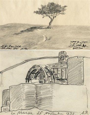 Arbre à Sidi-Bou-Saïd (+ Puits à La Marsa, smaller; 2 works) von Alexandre Roubtzoff