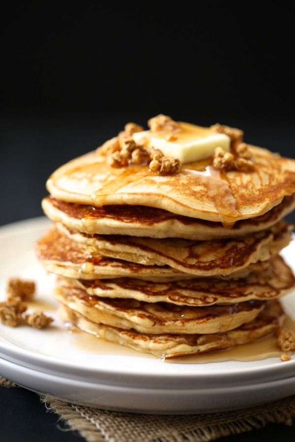 Apple-gingersnap pancakes with apple crisp granola & maple syrup