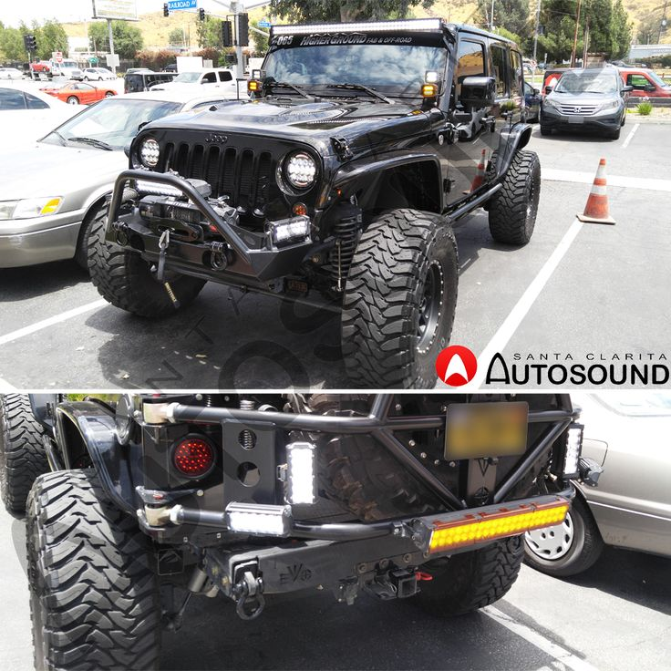 Light Bars, Headlights, Tail Lights, Turn Signals, Fog Lights, Side Markers and a Backup Camera Installed on this Jeep Wrangler. Everything is done at Santa Clarita Auto Sound. It is really important that you make your off-roading adventures safer at night time by adding lights and light bars to your Jeep. Call us and come down: (661) 286-1100