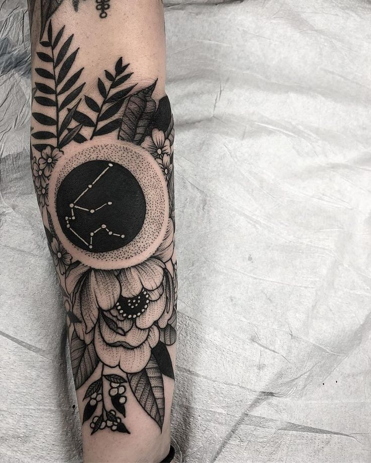 Negative space Aquarius constellation tattoo inked on the left forearm with flow…