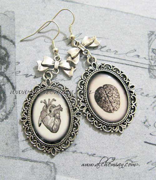 Heart and Brain.. Anatomical Earrings. €14,00, via Etsy.