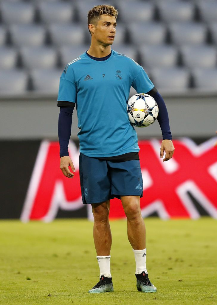 Munich Germany April 24 Cristiano Ronaldo Of Real Madrid Looks On During A Training Session On The Eve Ronaldo Cristiano Ronaldo Training Crstiano Ronaldo
