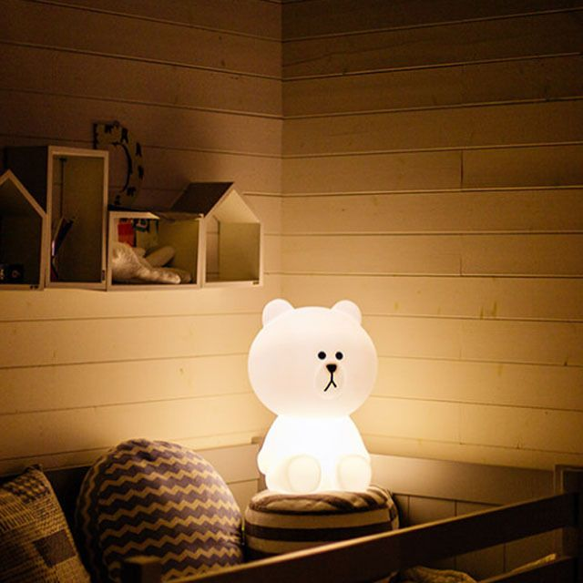 "Line Friends Bear Brown Mr Maria Table Desk LED Lamp for Bedroom Sleep S 11"" #NaverLineFriends #ArtDecoMordern"