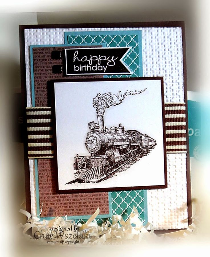 Stamps:  Traveler, Banner Greetings Paper:  Chocolate Chip, Lost Lagoon, Whisper White, DSP Ink:  Chocolate Chip Accessories:  striped ribbon, brads Tools: square lattice EF, dimensionals