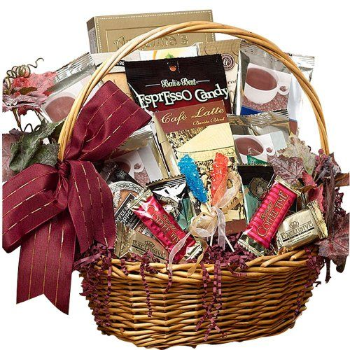 Impress friends, family or your most important business clients with this beautiful gift basket filled with premium coffees, sweets and great java go-togethers -- enough for all to share! Presented in a traditional willow basket, accented with ivy, and tied with a lovely bow, the classic presentation makes it perfect on any personal or corporate gift giving event Each gift is crafted with attention to detail, tied with ribbon for presentation, ready for gift giving Cafe Gourmet Premium…