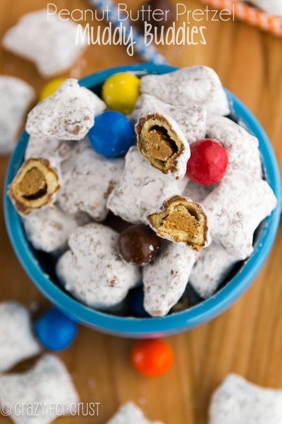 The most addicting snack ever: Peanut Butter Pretzel Muddy Buddies by crazyforcrust.com