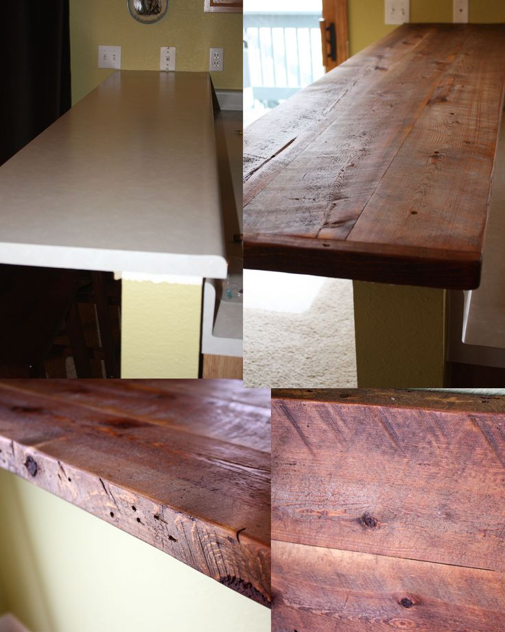 We replaced our old formica breakfast bar with reclaimed wood. Used a biscuit joiner tool & wood glue to attach the boards together. After sanding, we used Watco Danish oil for a stain & sealant & it gave it a wonderful finish that highlighted all the saw marks & old nail holes. Screwed through the top to attach to the vertical wall & used L brackets underneath to support all the weight. #rustic #reclaimed #wood #kitchen #countertops