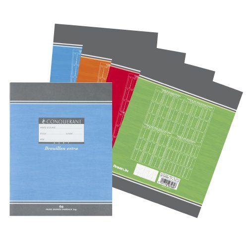 Oxford Office Conquérant Sept 100102470 Lot de 20 Cahier de brouillon avec grands carreaux 17 x 22 cm 96 pages Coloris aléatoire:…