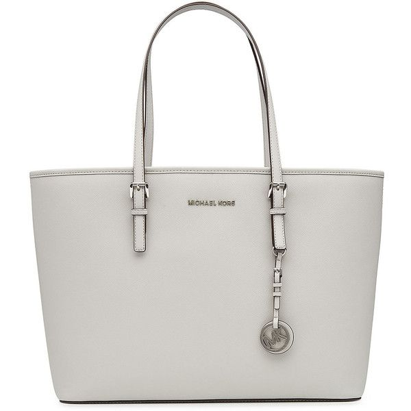 Michael Michael Kors Jet Set Travel Leather Tote ($345) ❤ liked on Polyvore featuring bags, handbags, tote bags, grey, leather shopper tote, leather handbag tote, leather purses, handbags totes and grey tote bag