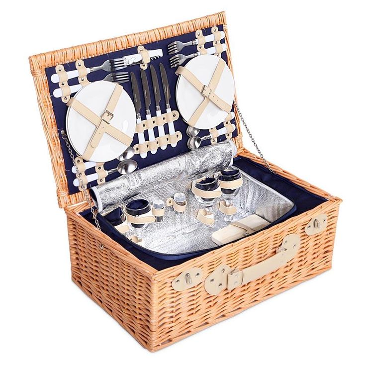 4 Person Picnic Basket Set with Cooler Bag Blanket - Navy  #shippedfromaustralia #wevegotample #ampled #buyonline #buynow #buyproductsnow