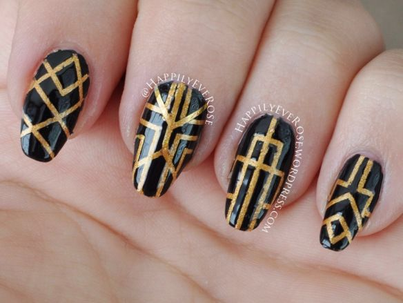 Great Gatsby inspired nail art using good black and striping tape to make 20s Art Deco design featured on the cover of the new movie