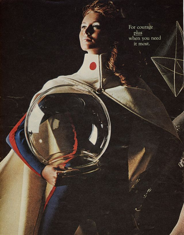 Awesome picture. I have no idea what the ad was for, but I'm going to assume from the text that it was for space tampons...