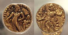 Coin of Vikramadytia Chandragupta II with the name of the king in Brahmi script 380 415 CE - Gupta Empire - Wikipedia