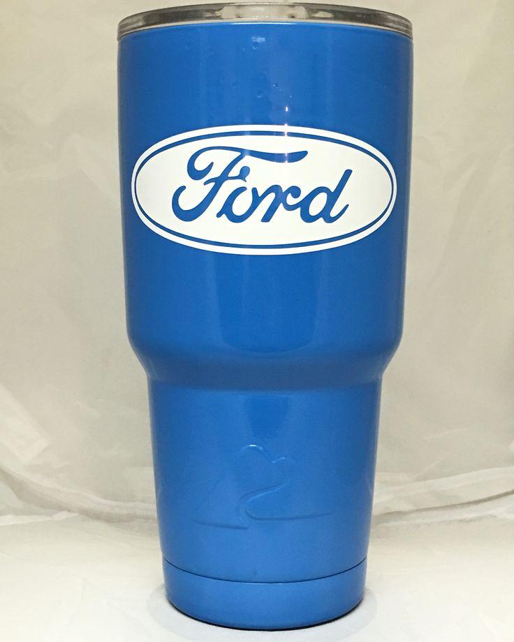 30oz Ozark Cup Powder Coated Blue Vinyl Ford Decals
