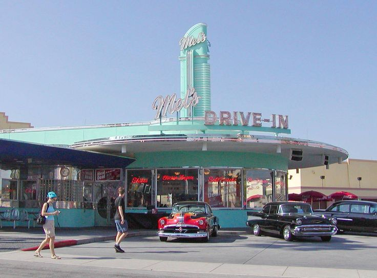 """The original California Googie-style """"Mel's Drive-ins"""" were started in 1947. This replica at Universal Studios in Orlando mimics the one featured in the American Graffiti movie,"""