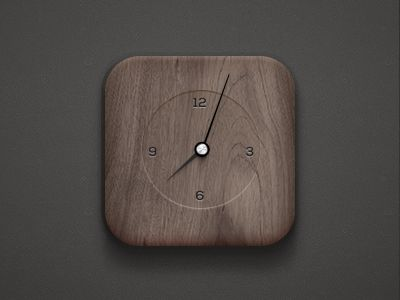 wooden clock | Clock (.psd) Simple clock icon with needles by Adrien Olczak.PSD ...