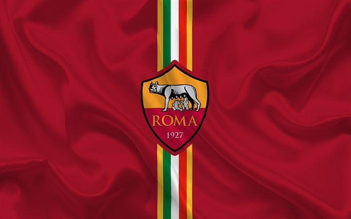 Descargar fondos de pantalla Roma, club de fútbol, el emblema de Roma, logotipo, Serie a, Italia, el fútbol