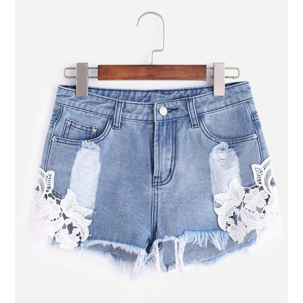 Lace Patch Frayed Denim Shorts ($17) ❤ liked on Polyvore featuring shorts, lacy shorts, lace shorts, jean shorts, frayed denim shorts and frayed shorts