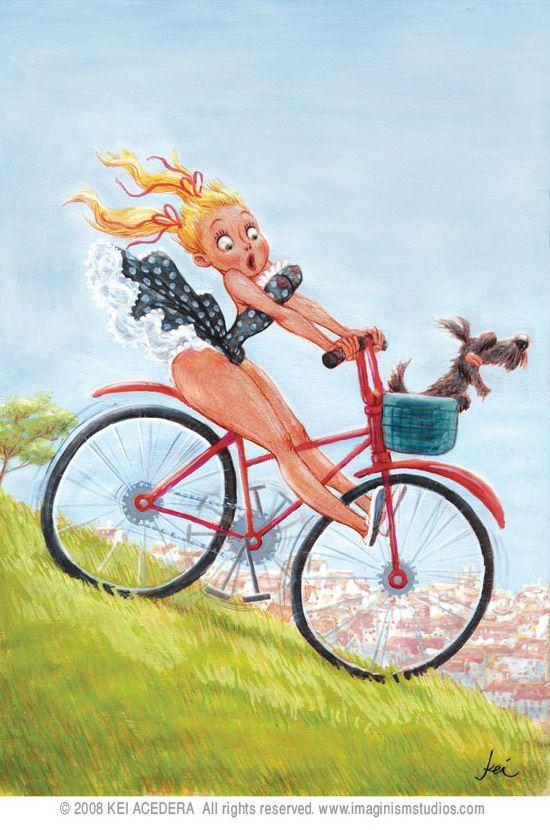 Картинки девочки на велосипедах смешные, анимация стихи
