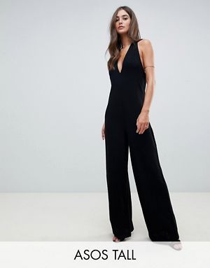 150465652238 ASOS DESIGN Tall halter neck jumpsuit with plunge front