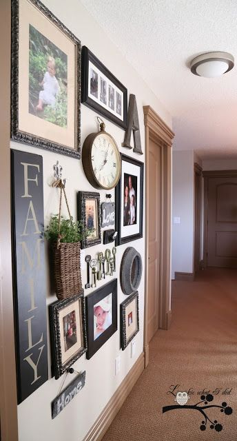 """Gallery wall ideas ...like the """"family"""" sign maybe a matching colored square """"grill"""" or medallion where the """"A"""" is ????"""