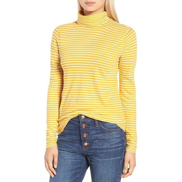 Women's J.crew Stripe Tissue Turtleneck Tee ($40) ❤ liked on Polyvore featuring tops, t-shirts, light mustard ivory, j crew tees, yellow t shirt, striped t shirt, turtleneck t shirt and tissue turtleneck