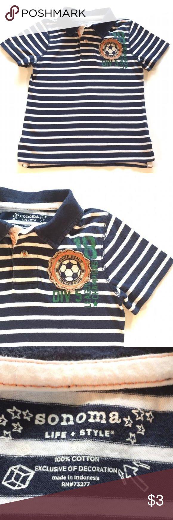Sonoma Navy & White Striped Polo Shirt Sonoma Navy & White Striped Polo Shirt, soccer appliqué on chest. Good condition due to light wash wear. Sonoma Shirts & Tops