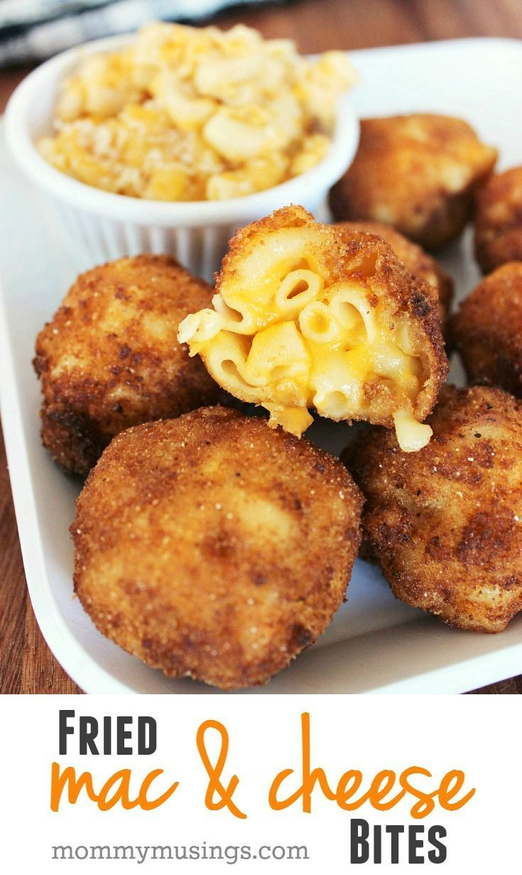 Fried Macaroni & Cheese Bites Recipe — perfect appetizer, party food or snack idea for the Big Game!