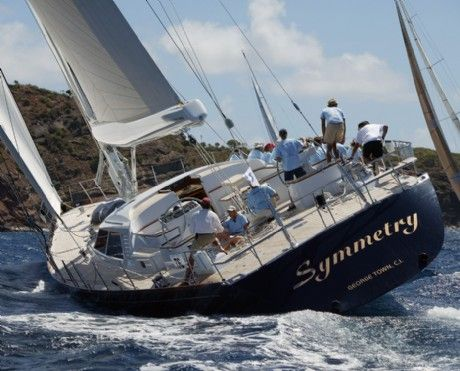 All Ocean Sailing Yachts for Sale | 96 German Frers Designed SYMMETRY from astern.