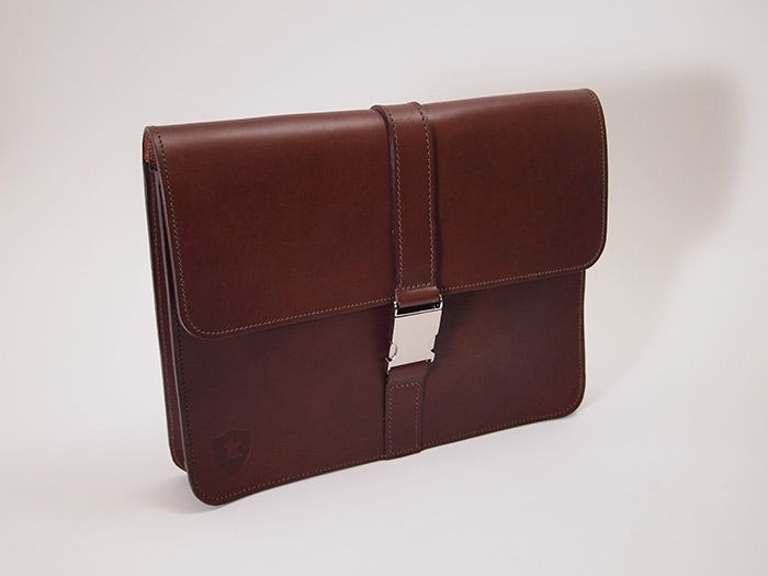 """The Organised 12"""" Folio in Chestnut Brown Leather -- Handmade in England by Holdall & Co"""