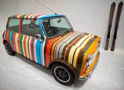 Paul Smith - Candy-striped Mini, owned by Rover at that time (late 1990's).  I love this.  It would be a cool thing to do to our Subaru station wagon when Sarah Ellen is old enough to drive it.