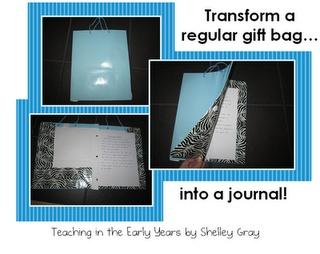 Gift Bag Journal - cute idea!: Diy Ideas, Gift Bags, Gifts Bags, Student Journals, Bags Journals, Journals Ideas, Awesome Journals, Cheap Gifts, Writing Journals